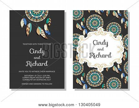 Wedding invitation, save the date cards. Colorful vector illustration of dreamcatchers with classic frame on dark background. Ethnic style wedding stationery
