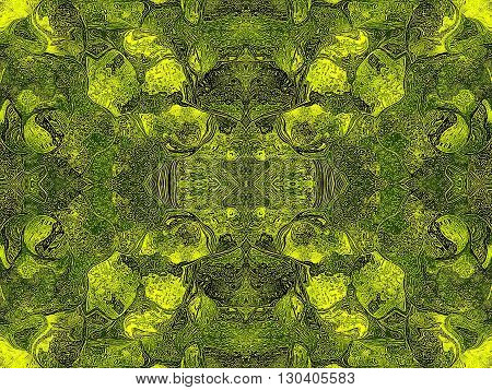 Oriental patterns - the language of the soul The picture shows the oriental patterns mainly green and yellow colors.