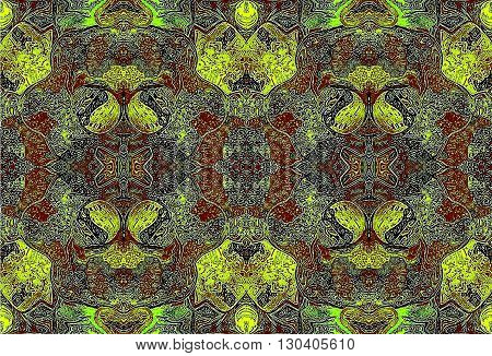 Oriental patterns - the language of the soul The picture shows the oriental patterns mainly brown and yellow colors.