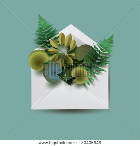 White envelope filled with different green leaves. Floral conceptual  illustration. Vector envelope.