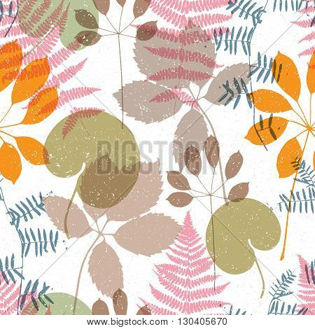 Floral seamless pattern with different elements of plants.Colorful vector illustration.