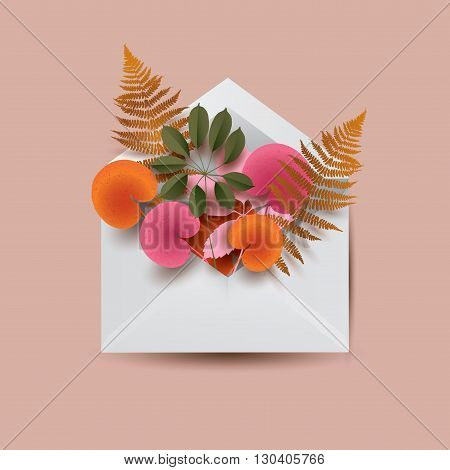 White envelope filled with different colorful leaves. Floral conceptual  illustration. Vector envelope.