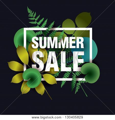 Summer sale poster. Summer sale banner. Summer sale flyer. Summer SALE card with elements of leaves and grass on dark background. Vector illustration.