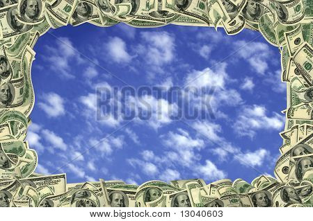 100 Dollar Frame Inside The Beautiful Sky And Clouds