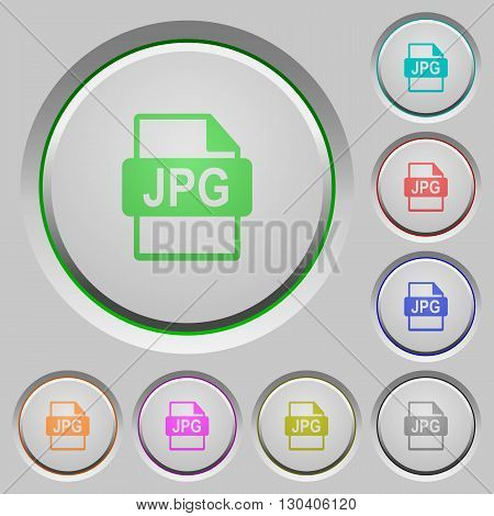 Set of color JPG file format sunk push buttons.