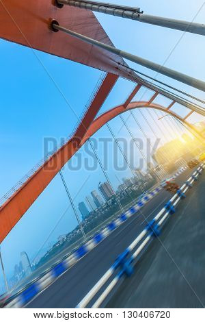 traffic in yangtse river bridge,chongqing china.
