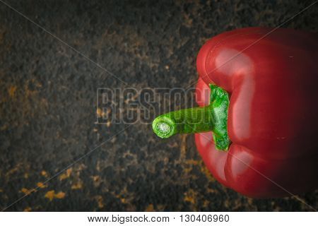 Sweet bell peppers on a metal background horizontal