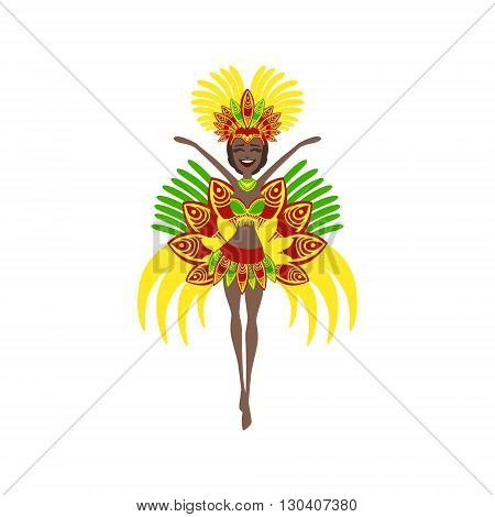 Brazilian Carnival Costume Flat Isolated Colorful Vector Design Illustration On White Background