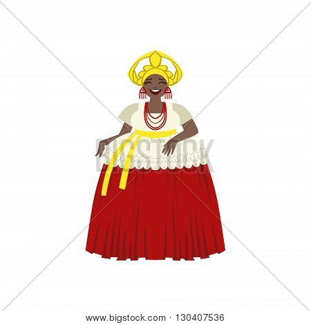 Brazilian Woman In National Costume Flat Isolated Colorful Vector Design Illustration On White Background
