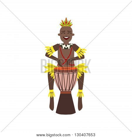 Black Man In Indigenous Brazilian Costume Flat Isolated Colorful Vector Design Illustration On White Background
