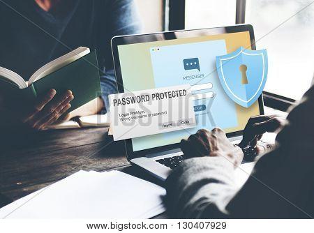 Password Protected Firewall Digital Internet Web Concept