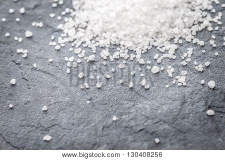 Gorka of sea salt on black slate horizontal