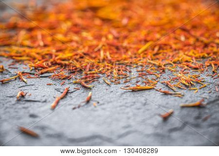Eastern spice saffron on a gray slate horizontal