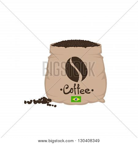 Brazilian Coffee Beans In A Sack Flat Isolated Colorful Vector Design Illustration On White Background