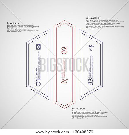 Illustration infographic template with motif of hexagon. Hexagon divided to three color parts. Each part created by double outline contour. Each part contains number text and simple sign.