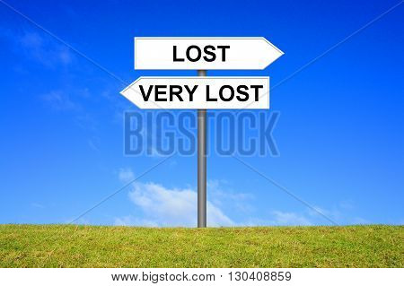 Signpost Roadsign is showing direction Lost or very Lost
