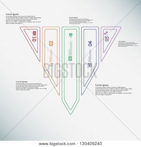 Illustration infographic template with motif of triangle. Triangle divided to five color parts. Each part created by double outline contour. Each part contains number text and simple sign.