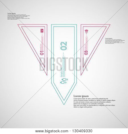 Illustration infographic template with motif of triangle. Triangle divided to three color parts. Each part created by double outline contour. Each part contains number text and simple sign.