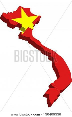 A map of Vietnam 3D with flag on white background