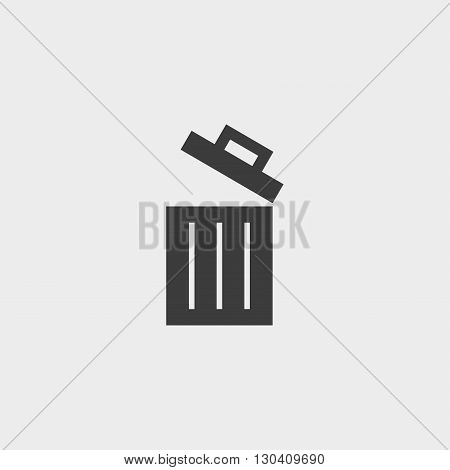 Open trash bin icon in a flat design in black color. Vector illustration eps10