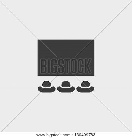 Cinema icon in a flat design in black color. Vector illustration eps10