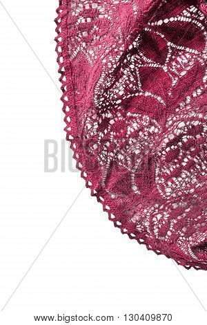 Red lace draped isolated on white background