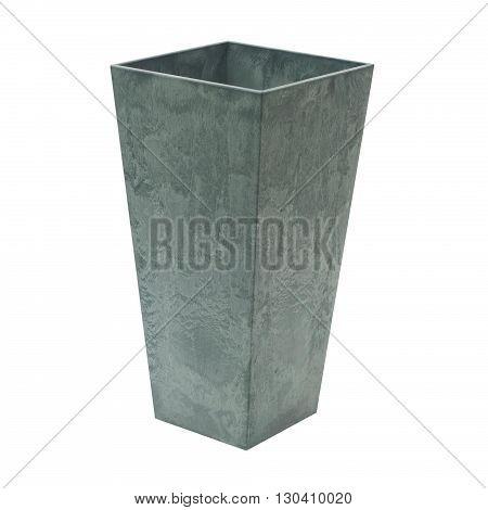 Empty floor standing flower pot, isolated on white background.
