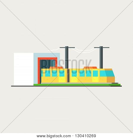 Metro Train Exiting Tunnel Vector Design Simple Graphic Illustration On White Background