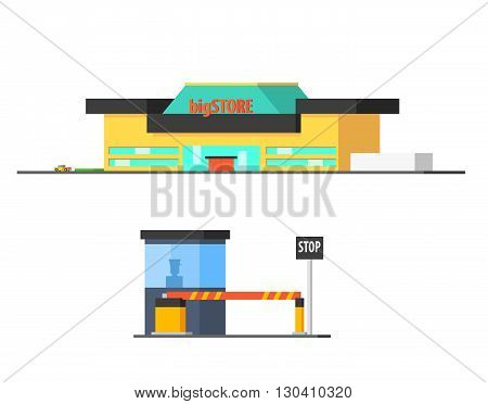 Shopping Mall And Checkpoint Vector Design Simple Graphic Illustration On White Background