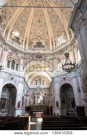 Cherasco,Italy,Europe - May 3, 2016 : The interior of the Madonna del Popolo Sanctuary