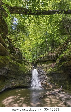 A waterfall plunges into The Punch Bowl a small box canyon at Turkey Run State Park in Parke County Indiana.