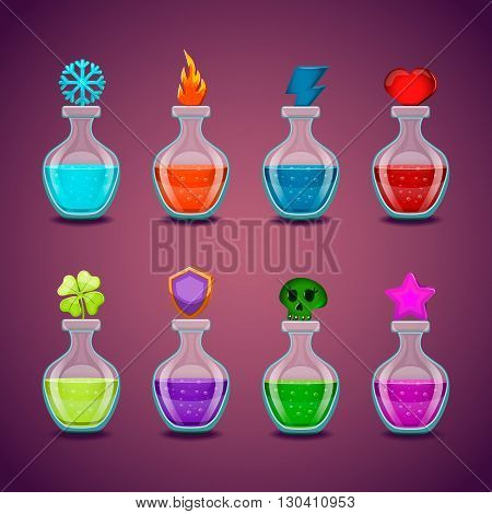 Set bottles with different potions. Game interface illustration.