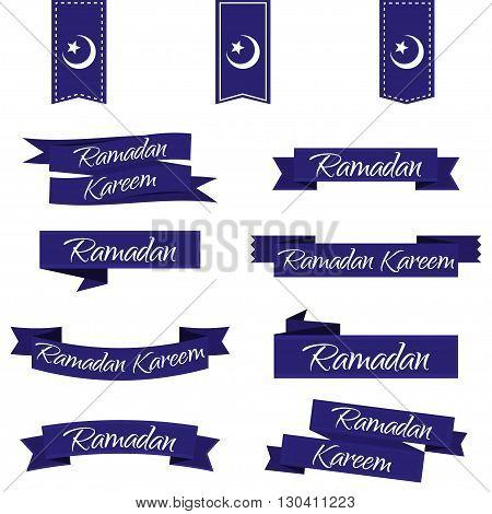Ramadan Kareem. Ribbon set in blue. Vector illustration EPS10
