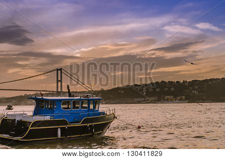 Istanbul Turkey - March 28 2015: Istanbul strait sunset Creating a beautiful landscape.