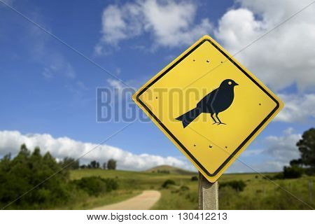 Bird Animal Wildlife Concept Icon On Road Sign