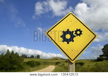 Support Access Concept Road Sign With Gear Icon