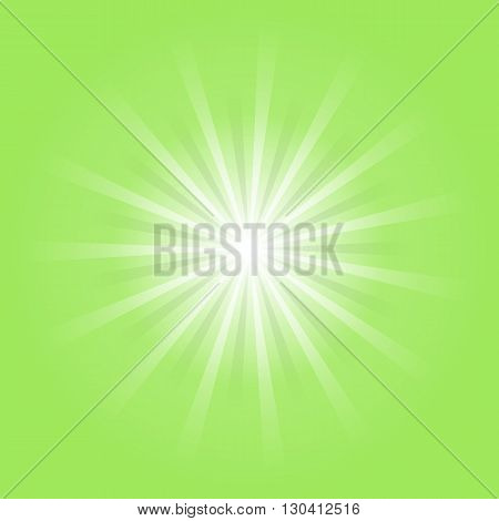 Green space blast and stars green rays vector illustration