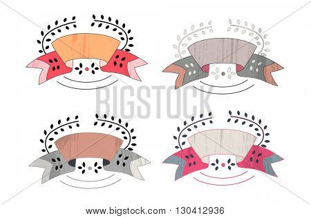 The cartoon flat vector ribbon and leaves template