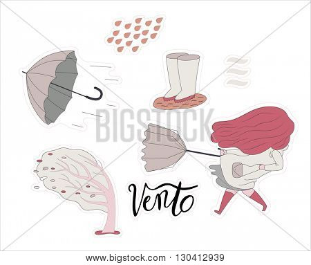 A flat vector cartoon illustration of a windy girl sticker set