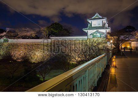Night At Kanazawa Castle In Kanazawa, Japan.
