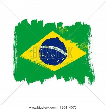 Flag of Brazil on a white background. Vector art.