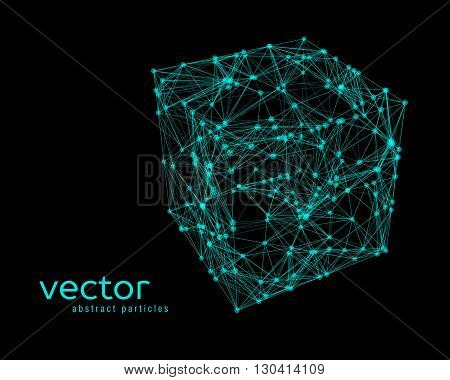 Abstract vector illustration of cube on black background