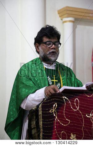 KUMROKHALI, INDIA - FEBRUARY 13: Mass in the Catholic Church in Kumrokhali, West Bengal, India February 13, 2014.