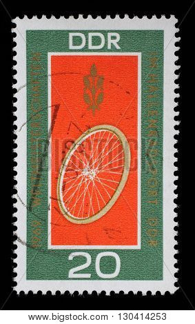 ZAGREB, CROATIA - JULY 02: Set of GDR stamps dedicated to Students Track cycling world championship in Erfurt, East Germany, circa 1969, on July 02, 2014, Zagreb, Croatia