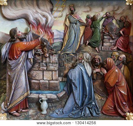 STITAR, CROATIA - NOVEMBER 24: Sacrifice offered by Elijah, main altar in the church of Saint Matthew in Stitar, Croatia on November 24, 2015
