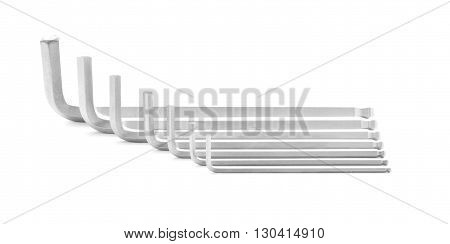Hexagonal wrench, steel tool for repair, isolated, on white background