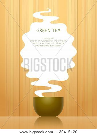 Cup for green tea steam above it with place for text on background with wooden pattern