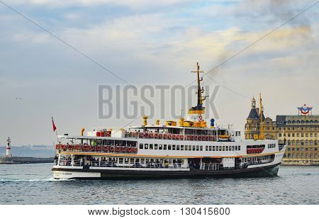 Istanbul Turkey - November 9 2014: The ferry service to transport passengers in the Istanbul Strait which City Lines Ferries