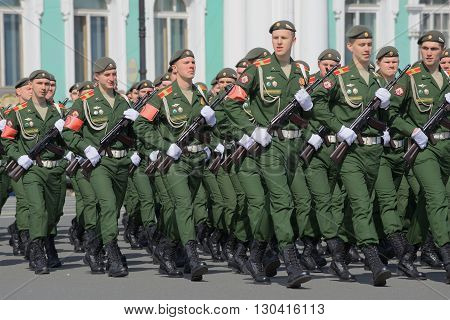 SAINT PETERSBURG, RUSSIA - MAY 05, 2015: Soldiers of the Russian army on parade rehearsal in honor of Victory Day