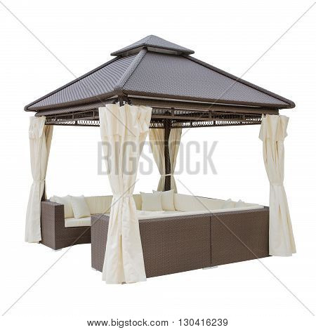 Beige luxury garden tent isolated on a white